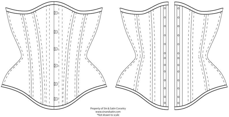 e58cdef768 Digital Download  Sin   Satin Curvy Underbust Corset size