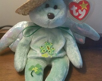Custom Dyed Ty Halo St Patricks Day Decorated Green Beanie Baby Angel Bear 26d6d20bde0