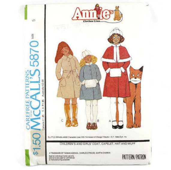 Girls 1970s Sewing Patterns Little Orphan Annie Girls Coat | Etsy