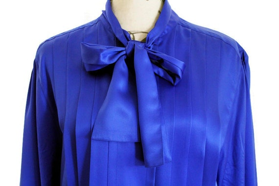 Silk Blouse Blue Vintage Pussy Bow Blouse Silk Shi