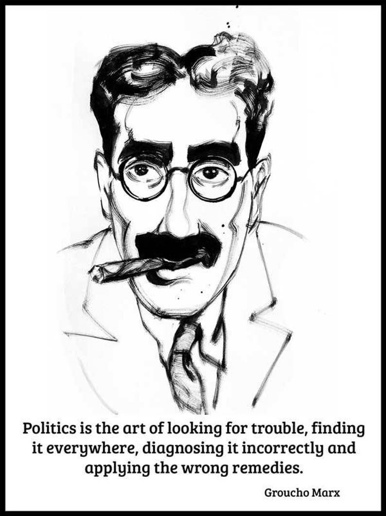IdiomaEtsy Tinta China Groucho El Retrato Frases En Marx 6yg7bf