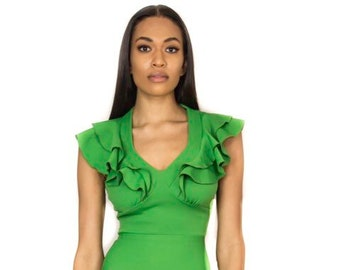 4454b3a742 Ruffled Lime Green Dress