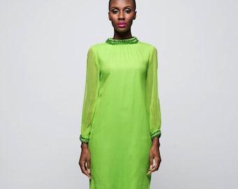 Bright Green 60s Shift Dress