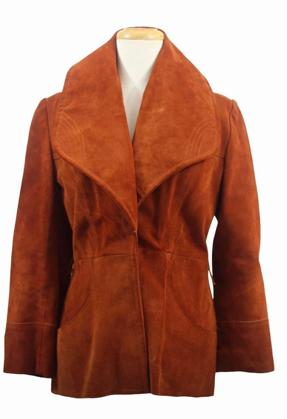 70s Suede Cognac Suede Coat with Big Collar