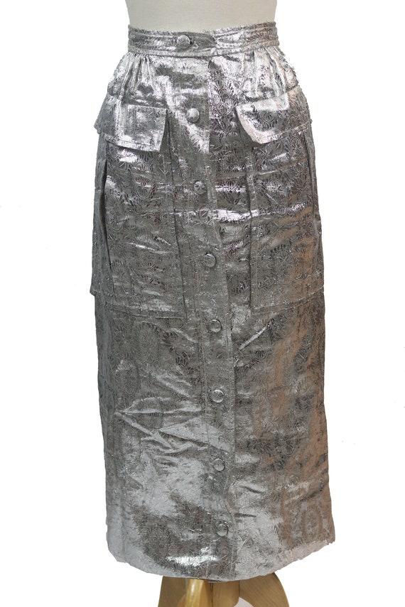 Silver Lame' Midi Skirt