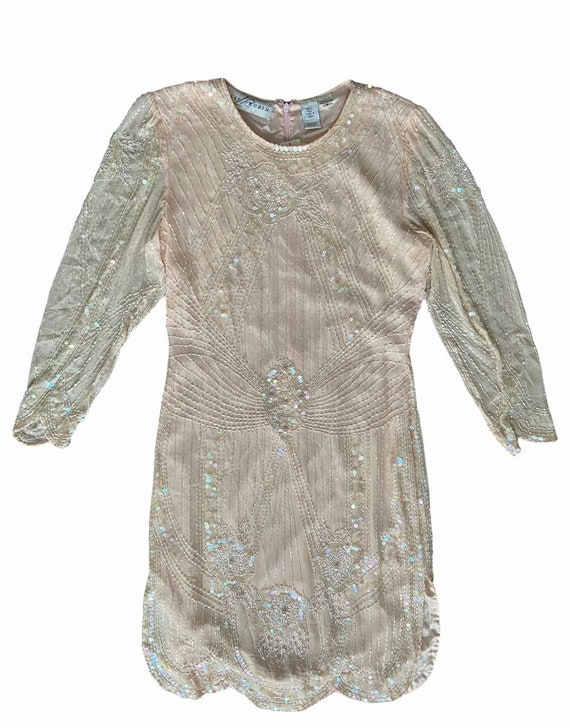 Lillie Rubin Silk Sequined and Beaded Dress