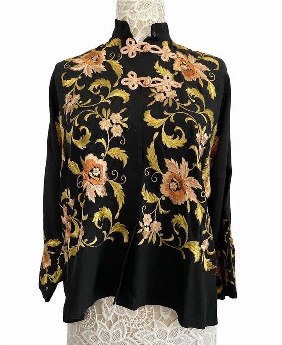 Mandarin Collar Floral Embroidered Shirt