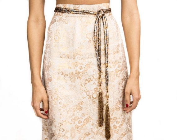 Embossed Metallic Maxi Skirt