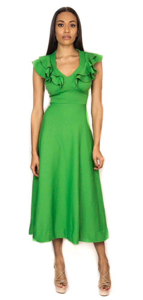 Ruffled Lime Green Dress