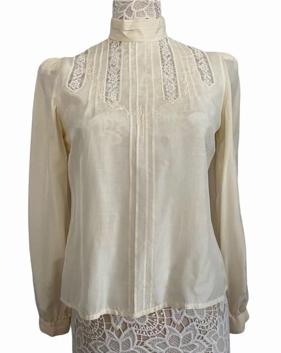 Vintage Victorian Collar Silk Shirt