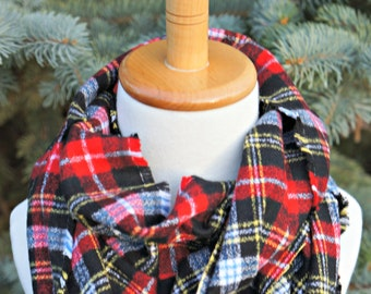 Black Red Blue White Yellow Buffalo Check - Black Red Buffalo Check Scarf - Small Adult Infinity Scarf - Youth Flannel Scarf