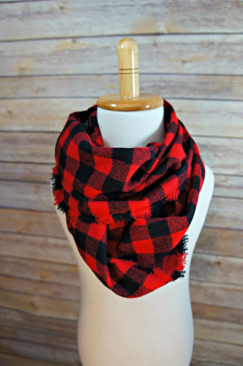 2d352d5d468 Red Black Buffalo Small Plaid Scarf - Red Black Small Plaid Scarf - Toddler  Flannel Scarf- Nebraska Scarf Wisconsin Scarf