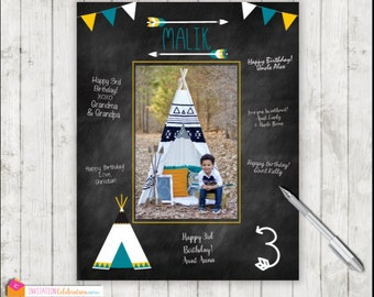 Wild One Tribal Birthday Party Arrow PRINTABLE Teepee Birthday Signature Mat First Birthday Wishes Guest Book Digital