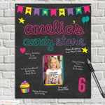 Candy Store Party - Signature Mat - Wishes - Guest Book - Personalized - Candy Store Birthday - Rainbow - Neon - chalkboard - Birthday Board