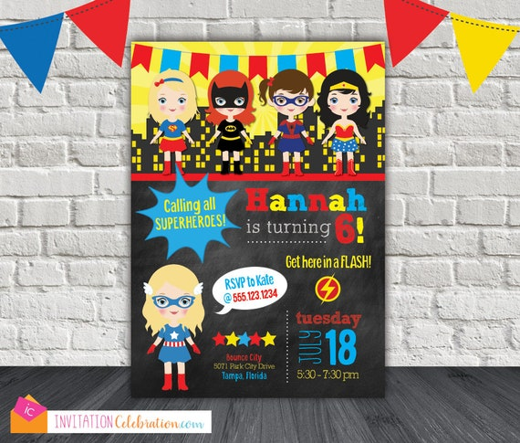 Superhero Girl Invitation Girl Superhero Invitation Dc Superhero