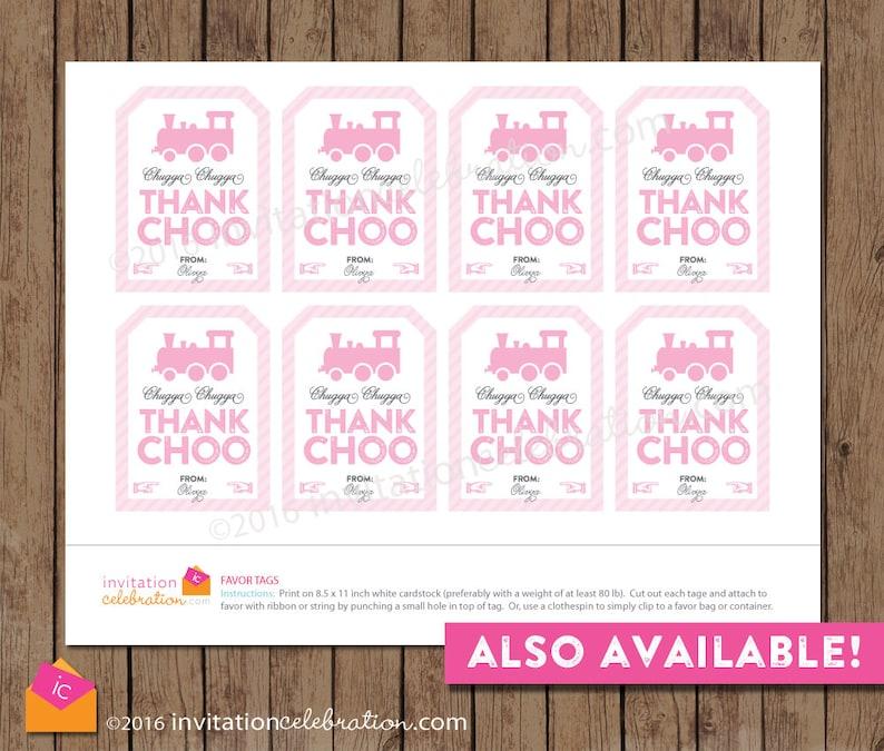 Pink Train Thank You POSTCARD PRINTED Chugga Chugga Two Two Girl Birthday Chugga Chugga Thank Choo Pink Gray