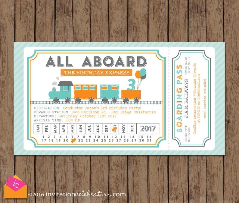 Train Ticket Invitation All Aboard Turquoise Orange Gray Etsy