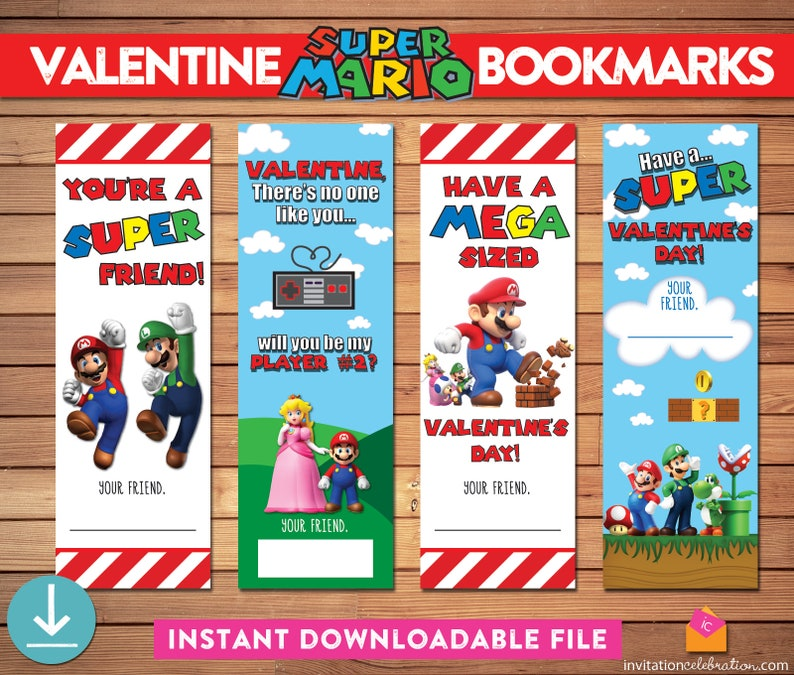 photograph about Printable Valentines Bookmarks called Mario Valentine Bookmarks - PRINTABLE - Tremendous Mario Valentines - Gamer Valentine - Fast Obtain