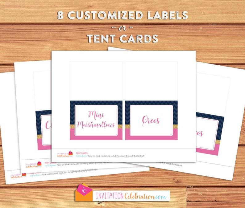 Food Label Tent Cards 8 itemscards Navy Blue Chevron PRINTABLEDIGITAL Choose Folded Tent or Flat Label Pink Glitter Gold