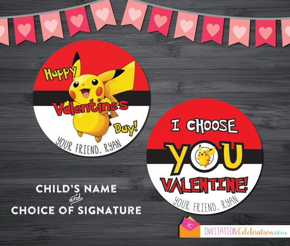 photograph regarding Pokemon Valentine Cards Printable named Pokemon Valentine Playing cards - PRINTABLE - Custom made - Pikachu