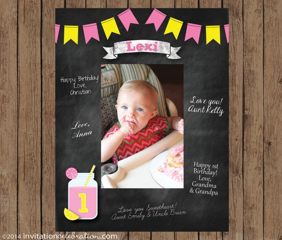 Birthday Signature Mat Wishes Guest Book Frame Pink Lemonade