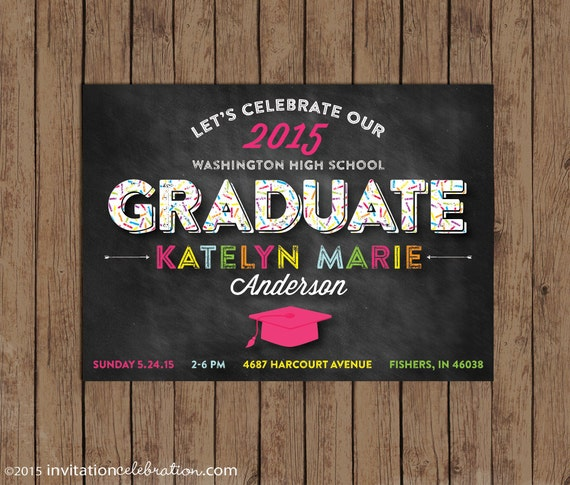 Graduation Party Invitation - Retro Chalkboard - Bright Colorful - YOUR COLORS - Optional Photo Back - Choose Digital or Printed w/Envelopes
