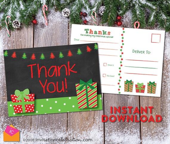 Kinder Weihnachten danke-Postkarte PRINTABLE Lückentext | Etsy