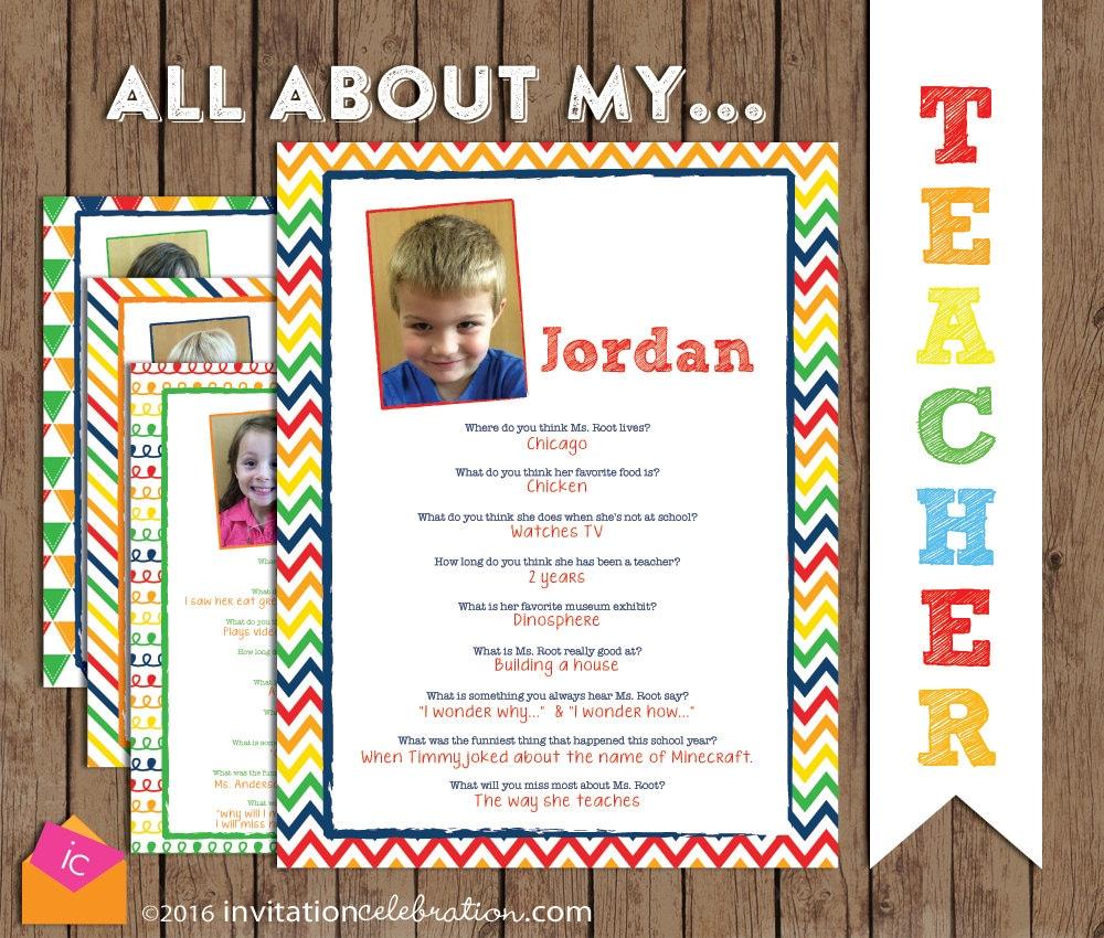 Preschool Teacher Christmas Gift All About My Teacher Book   Etsy