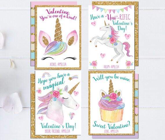 Unicorn Valentine Cards - PRINTABLE - Valentine Cards for ...