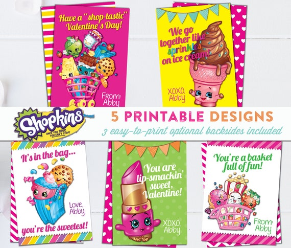 graphic about Printable Shopkins Posters identified as Shopkins Valentine Playing cards - PRINTABLE - Custom made - 3 Very simple