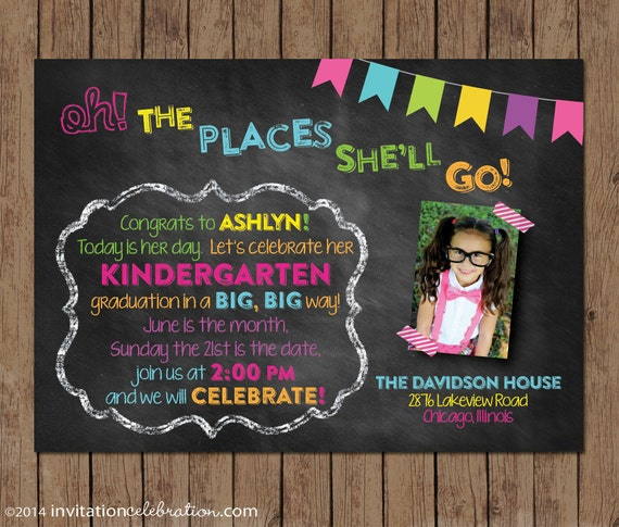 Dr Seuss Kindergarten Graduation Invitation