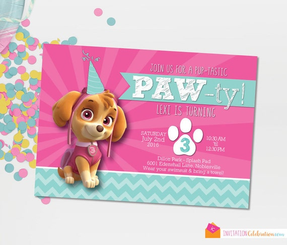 Paw Patrol Skye Invitation Birthday Girl