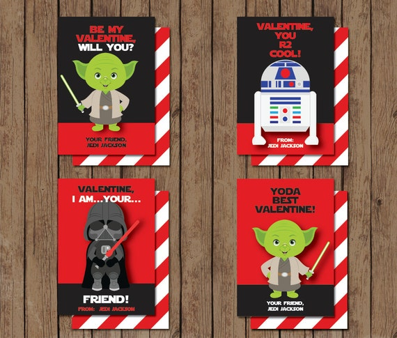 Printable Digital Star Wars Valentines Day Cards Yoda Darth Vader
