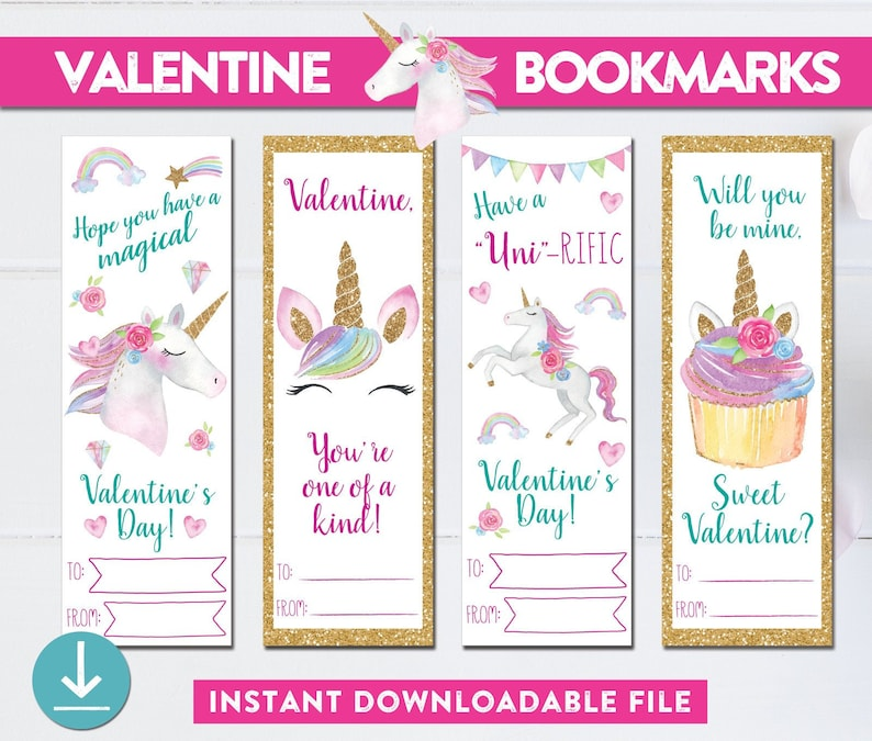 graphic about Printable Valentines Bookmarks identify Unicorn Valentine Bookmarks - PRINTABLE - Unicorn Valentines - Female Valentine - Bookmark Valentine - Quick Obtain