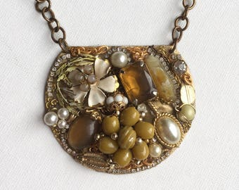 Yellow and Gold Encrusted Pendant Necklace