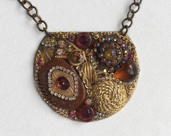 Bronze and Gold Encrusted Pendant Necklace