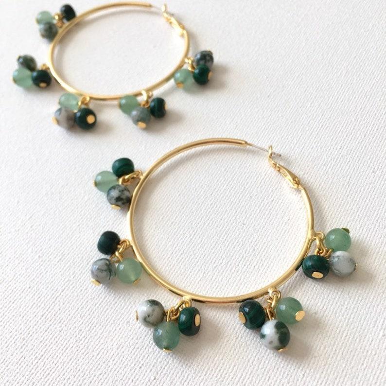 Cool Green Gemstone Cluster Hoops