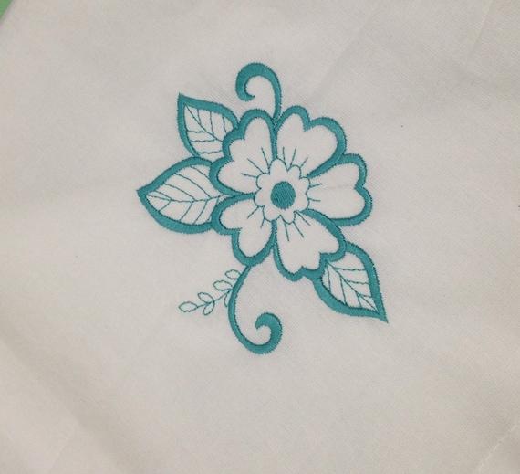 White cotton napkins set of four with desert rose design