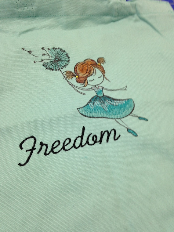 Tote bags made for special girls for dance class clothes. Many designs to choose from and colors.