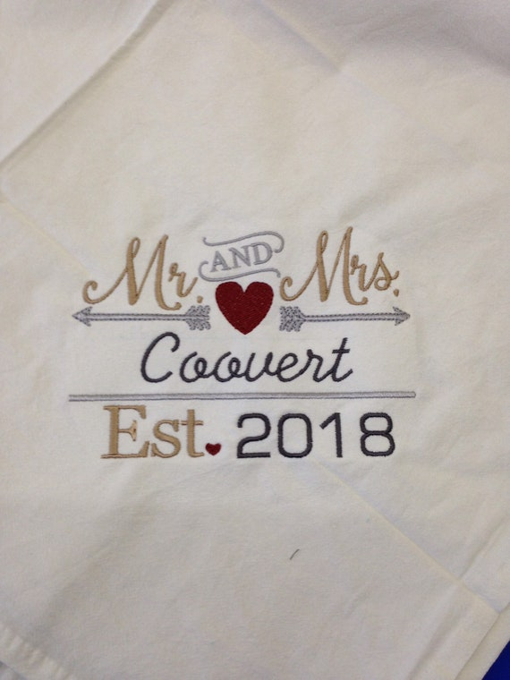Mr and Mrs sign customized with date and name. Can make into a pillow or t towels , blankets and on canvas for wall hanging.