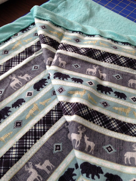 """Montana inspired baby blankets 34""""x40"""" turquoise minky and flannel with bears and deer."""