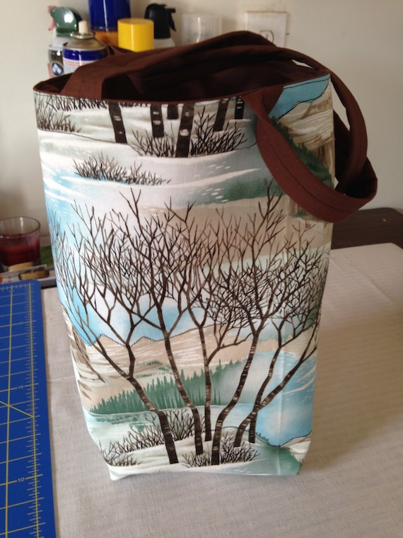 Winter design on handmade book bag.
