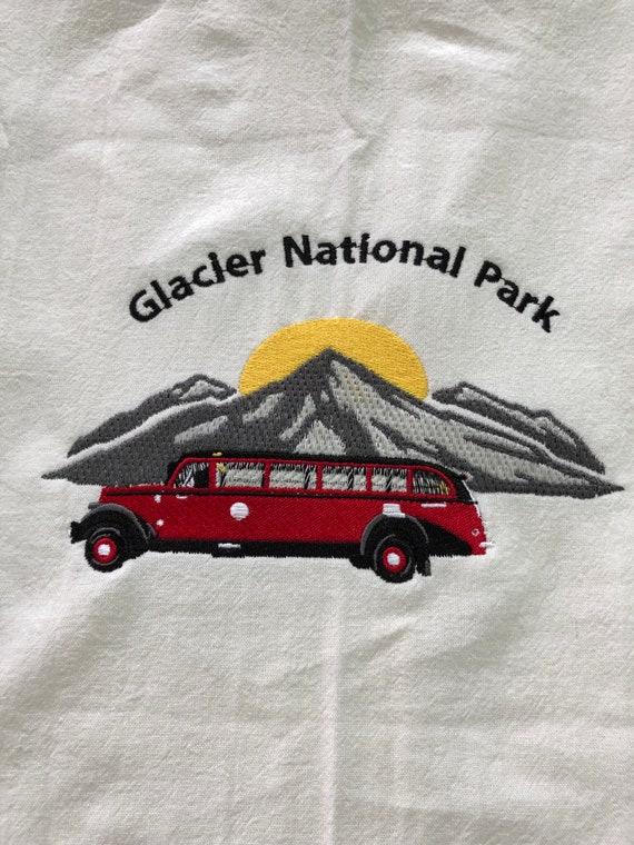 Grey Tea Towel with vintage Glacier Park red bus