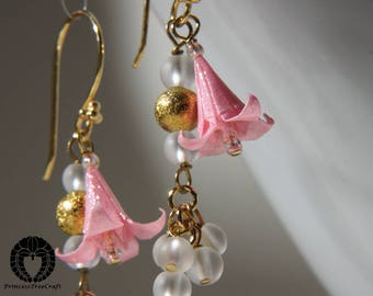 Ear wire earrings, origami lily earrings with frosted white rock crystal quartz, Origami Jewelry