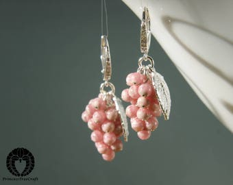 Exclusive grapes earrings with AAA Inca Rose and 925 sterling silver