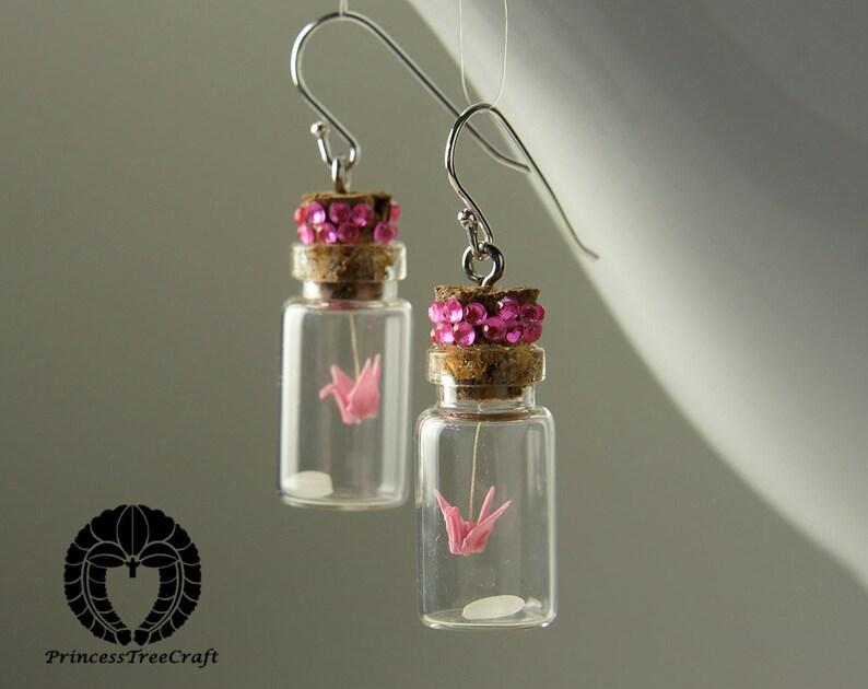 Origami Crane Jewelry Origami Crane Earrings Micro Origami Mobile in a Bottle Earrings Pink