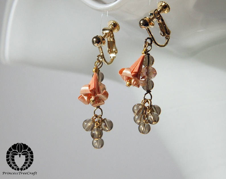 Clip on Origami lily earrings with smoky quartz peach colored lily