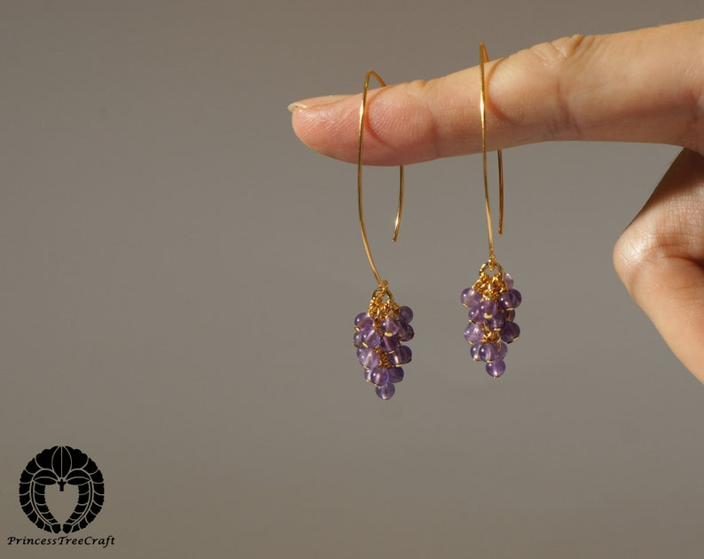 Tiny AAA amethyst cluster earrings with 24K real gold on 925 sterling silver ear wire