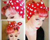 Ships NEXT DAY Rosie the Riveter Free Shipping Red with Big White Polka Dots Double WIDE Headwrap Hair Tie Halloween Rockabilly Pinup