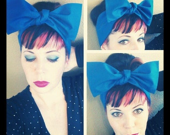 Royal Blue Headwrap Bandana Hair Big Bow Tie 1940s 1950s Vintage Style - Rockabilly - Pin Up - For Women, Teens